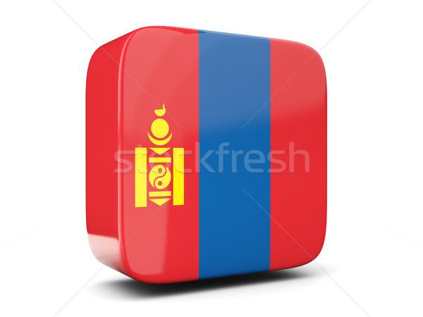 Vierkante icon vlag Mongolië 3d illustration geïsoleerd Stockfoto © MikhailMishchenko