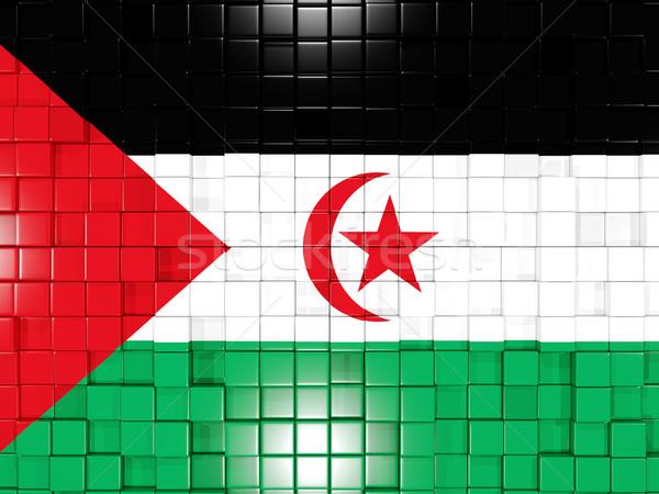 Vierkante onderdelen vlag westerse sahara 3D Stockfoto © MikhailMishchenko