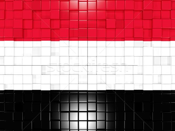 Praça bandeira Iémen ilustração 3d mosaico Foto stock © MikhailMishchenko