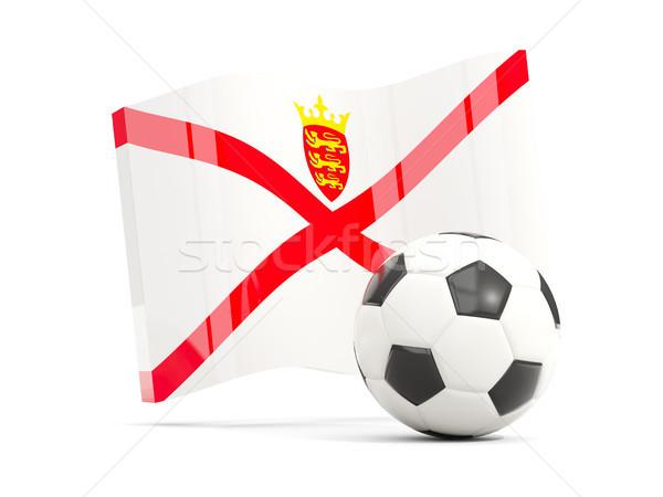 Football with waving flag of jersey isolated on white Stock photo © MikhailMishchenko