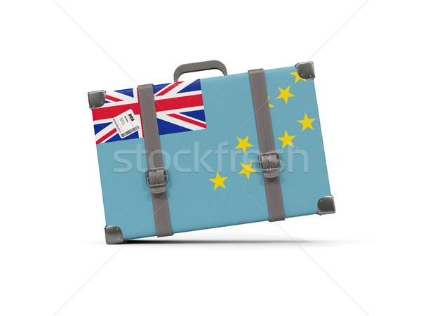 Luggage with flag of tuvalu. Suitcase isolated on white Stock photo © MikhailMishchenko