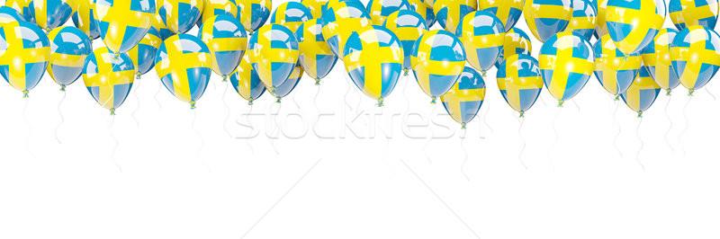 風船 フレーム フラグ スウェーデン 孤立した 白 ストックフォト © MikhailMishchenko