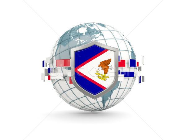 Globo escudo bandeira Samoa Americana isolado branco Foto stock © MikhailMishchenko