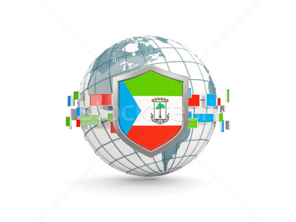 Globe and shield with flag of equatorial guinea isolated on whit Stock photo © MikhailMishchenko