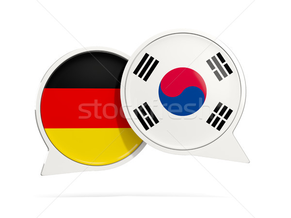 Chat bubbles of Germany and South Korea isolated on white Stock photo © MikhailMishchenko