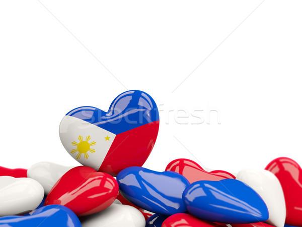 Stock fotó: Szív · zászló · Fülöp-szigetek · felső · szívek · izolált