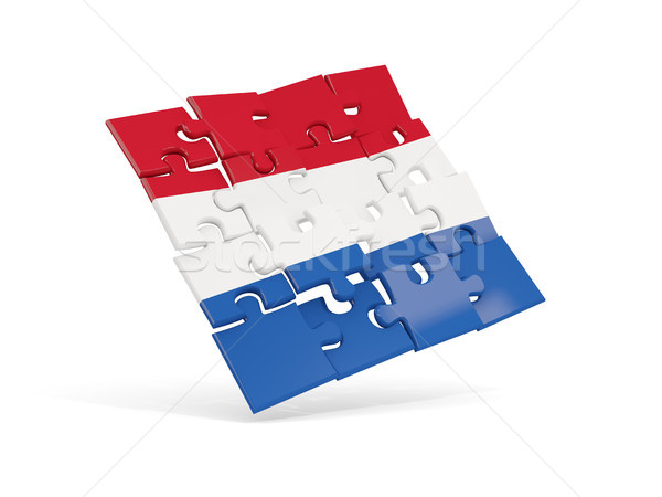 Puzzle flag of netherlands isolated on white Stock photo © MikhailMishchenko