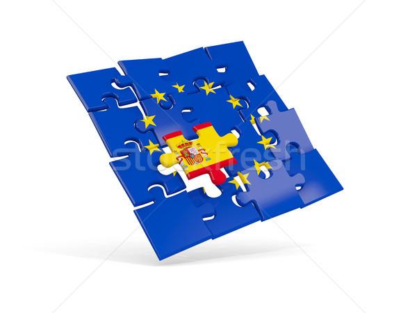 Puzzle banderą europejski Unii Hiszpania 3d ilustracji Zdjęcia stock © MikhailMishchenko