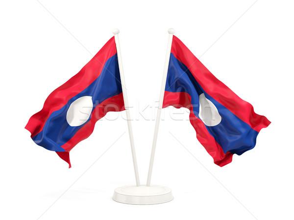 Dwa flagi Laos odizolowany biały Zdjęcia stock © MikhailMishchenko