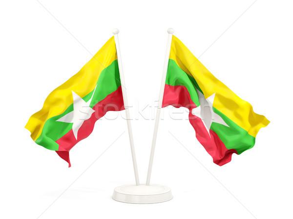 два флагами Мьянма изолированный белый Сток-фото © MikhailMishchenko
