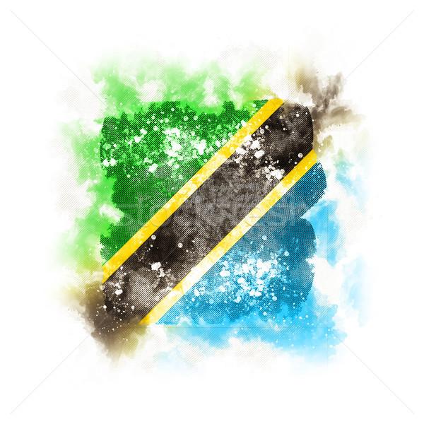 Platz Grunge Flagge Tansania 3D-Darstellung Retro Stock foto © MikhailMishchenko