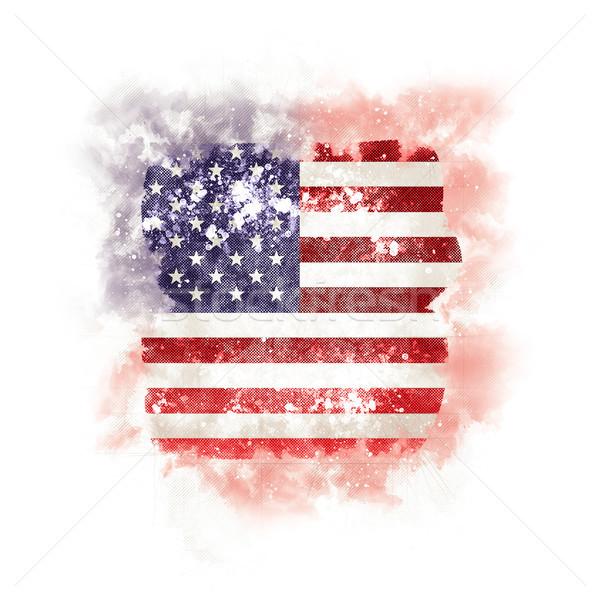 Kare grunge bayrak Amerika Birleşik Devletleri Amerika 3d illustration Stok fotoğraf © MikhailMishchenko