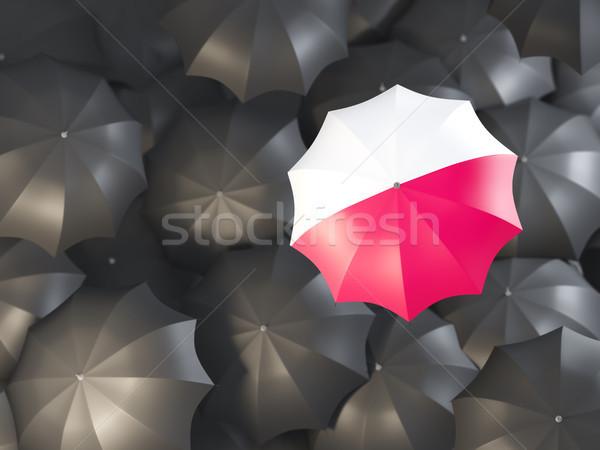 Guarda-chuva bandeira Polônia topo preto guarda-chuvas Foto stock © MikhailMishchenko