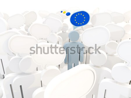 Man with flag of french southern territories in a crowd Stock photo © MikhailMishchenko