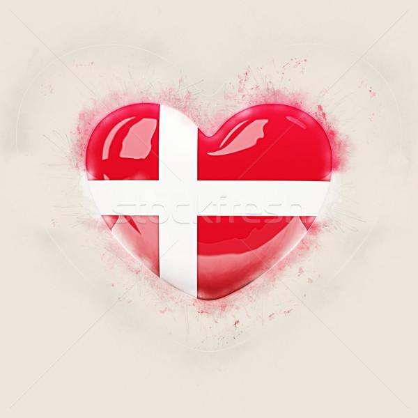 Kalp bayrak Danimarka grunge 3d illustration sevmek Stok fotoğraf © MikhailMishchenko