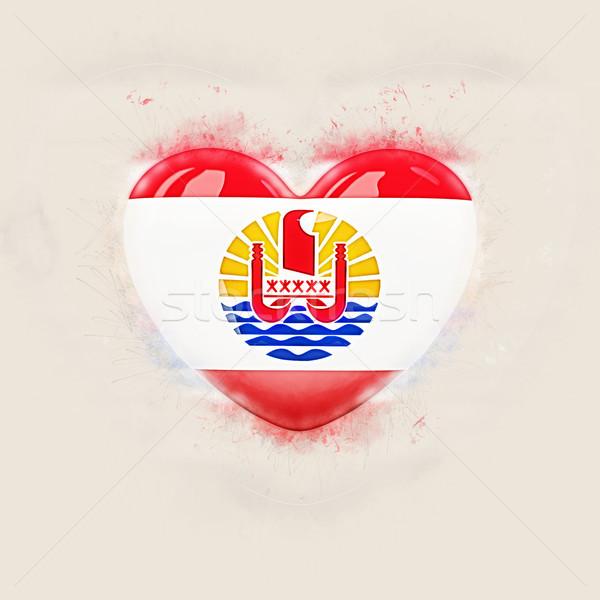 Cuore bandiera francese polinesia grunge illustrazione 3d Foto d'archivio © MikhailMishchenko