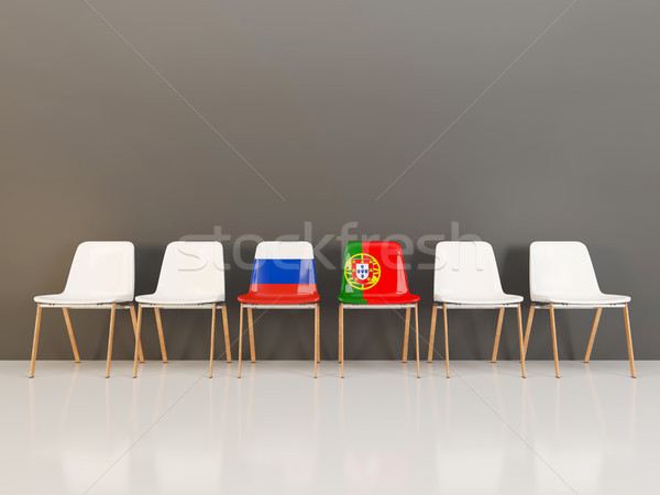 Chairs with flag of Russia and portugal Stock photo © MikhailMishchenko
