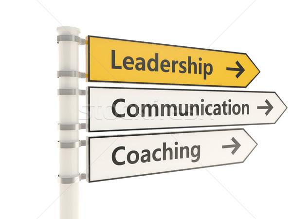Leadership road sign isolated on white background Stock photo © MikhailMishchenko