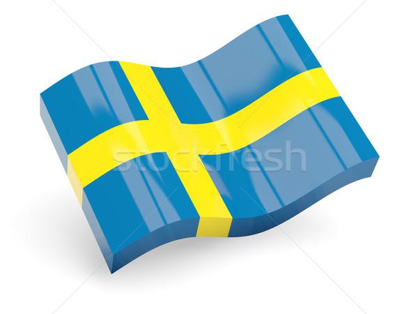 3D banderą Szwecja odizolowany biały fali Zdjęcia stock © MikhailMishchenko