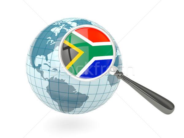 拡大された フラグ 南アフリカ 青 世界中 孤立した ストックフォト © MikhailMishchenko