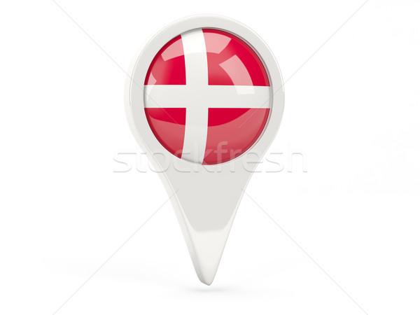 Zászló ikon Dánia izolált fehér térkép Stock fotó © MikhailMishchenko