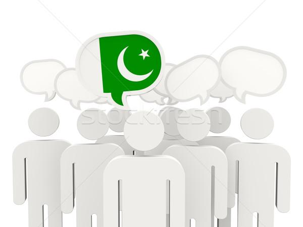 Insanlar bayrak Pakistan yalıtılmış beyaz toplantı Stok fotoğraf © MikhailMishchenko