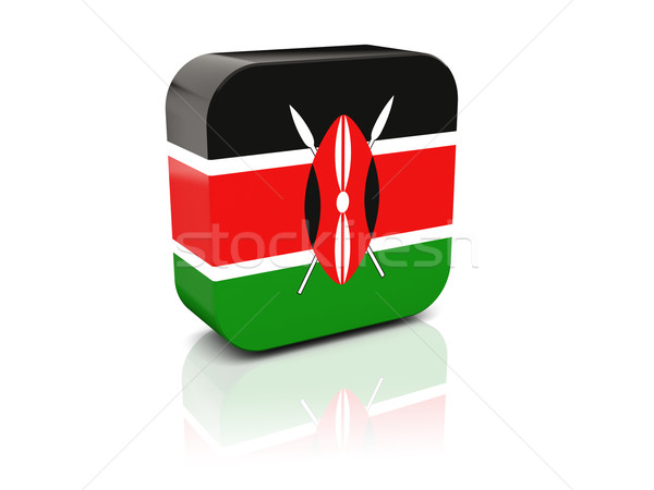Stock fotó: Tér · ikon · zászló · Kenya · tükröződés · fehér