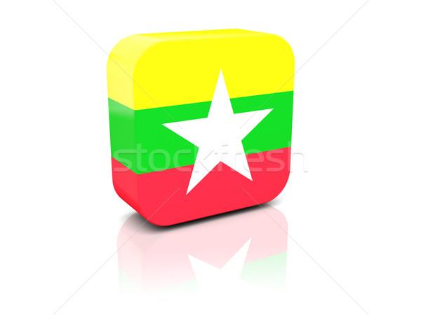 Kare ikon bayrak Myanmar yansıma beyaz Stok fotoğraf © MikhailMishchenko