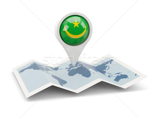 ピン フラグ モーリタニア 地図 旅行 白 ストックフォト © MikhailMishchenko