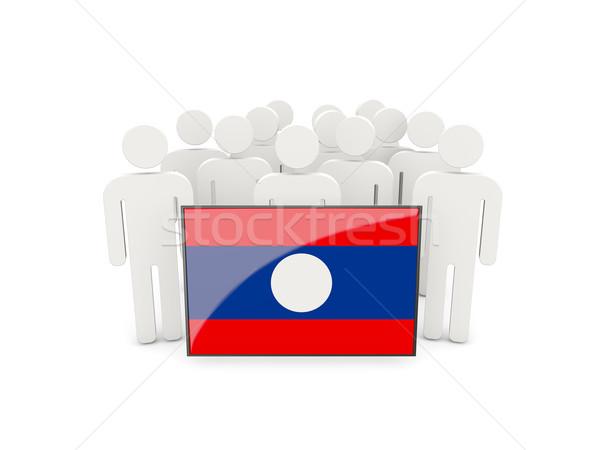 Ludzi banderą Laos odizolowany biały tłum Zdjęcia stock © MikhailMishchenko