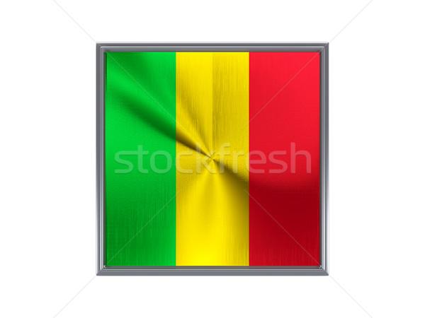 Square metal button with flag of mali Stock photo © MikhailMishchenko