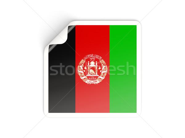 квадратный наклейку флаг Афганистан изолированный белый Сток-фото © MikhailMishchenko