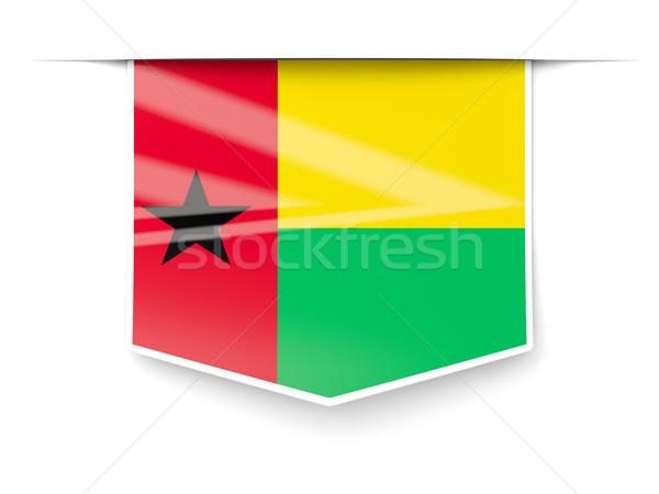 Square label with flag of guinea bissau Stock photo © MikhailMishchenko