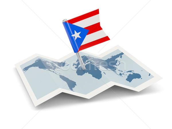 Kaart vlag Puerto Rico geïsoleerd witte Stockfoto © MikhailMishchenko