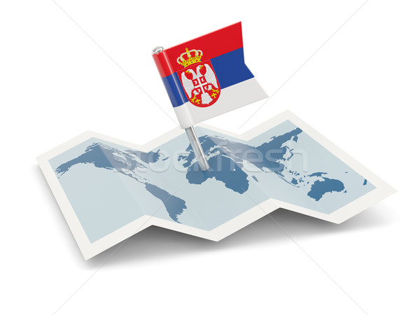 Carte pavillon Serbie isolé blanche Photo stock © MikhailMishchenko