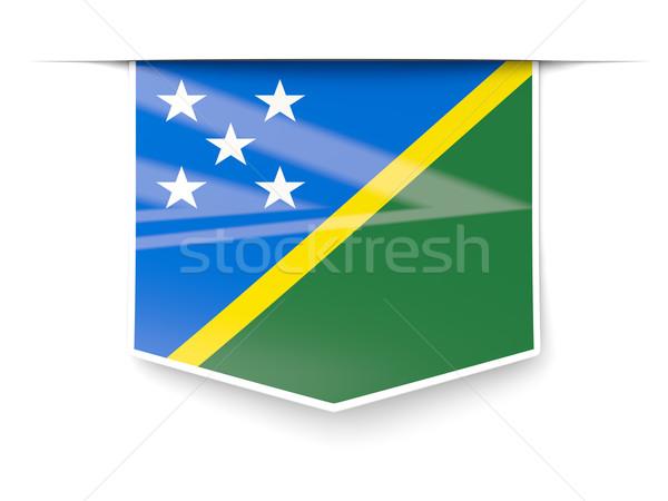 Square label with flag of solomon islands Stock photo © MikhailMishchenko