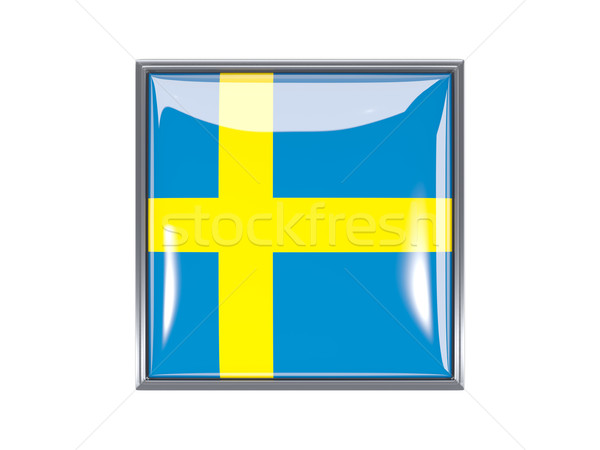 квадратный икона флаг Швеция металл кадр Сток-фото © MikhailMishchenko