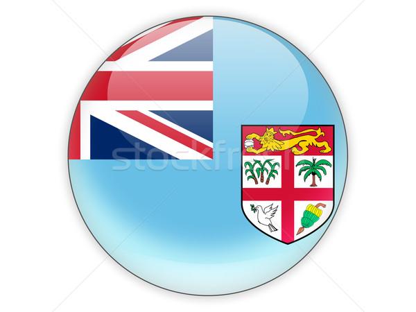 Icona bandiera Fiji isolato bianco viaggio Foto d'archivio © MikhailMishchenko