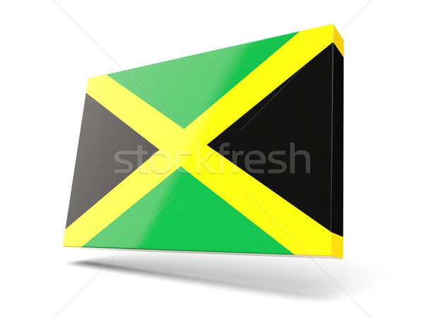 Kare ikon bayrak Jamaika yalıtılmış beyaz Stok fotoğraf © MikhailMishchenko