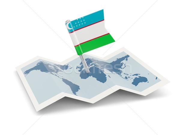 Térkép zászló Üzbegisztán izolált fehér Stock fotó © MikhailMishchenko
