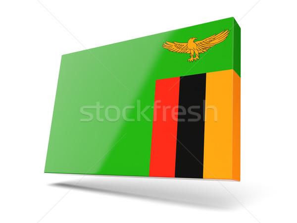 Stock fotó: Tér · ikon · zászló · Zambia · izolált · fehér