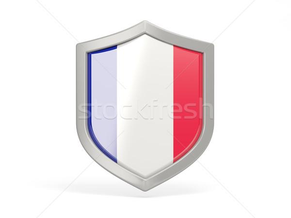 Shield icon with flag of france Stock photo © MikhailMishchenko
