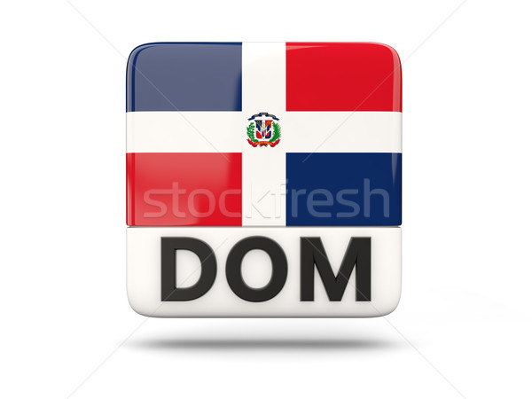 Square icon with flag of dominican republic Stock photo © MikhailMishchenko
