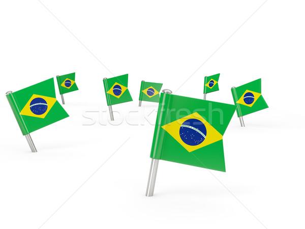 квадратный флаг Бразилия изолированный белый стране Сток-фото © MikhailMishchenko
