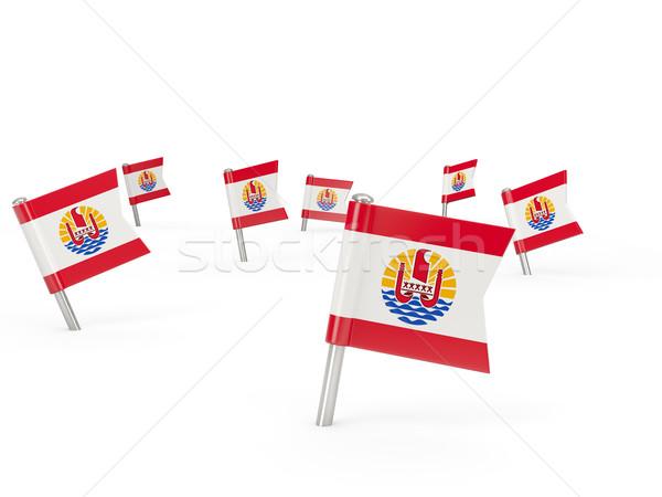 Stok fotoğraf: Kare · bayrak · fransız · polinezya · yalıtılmış · beyaz