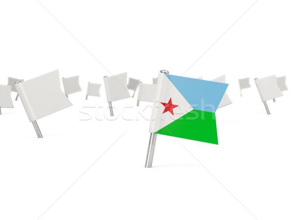 Placu pin banderą Dżibuti odizolowany biały Zdjęcia stock © MikhailMishchenko