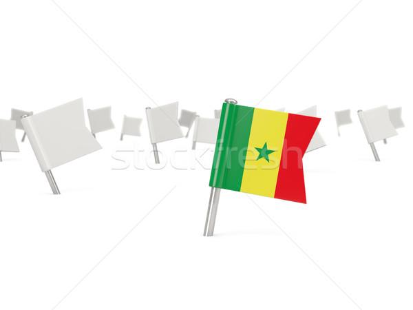 Square pin with flag of senegal Stock photo © MikhailMishchenko