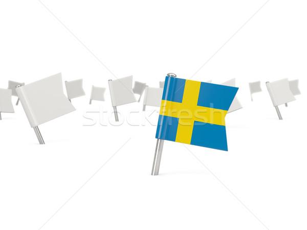 Vierkante pin vlag Zweden geïsoleerd witte Stockfoto © MikhailMishchenko