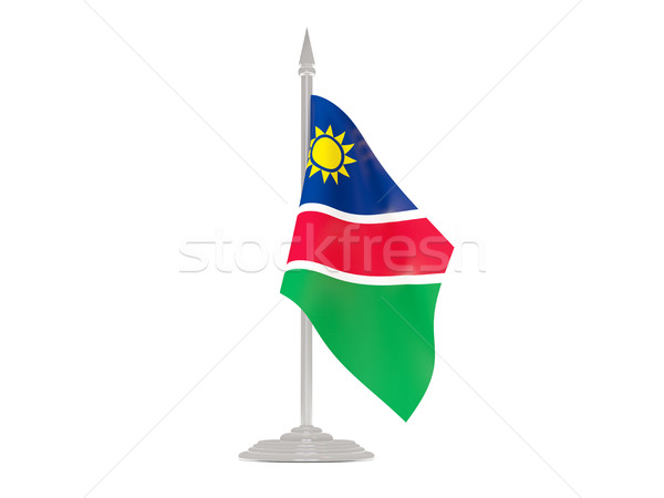 Flag of namibia with flagpole. 3d render Stock photo © MikhailMishchenko