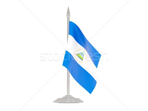 Banderą Nikaragua maszt 3d odizolowany biały Zdjęcia stock © MikhailMishchenko